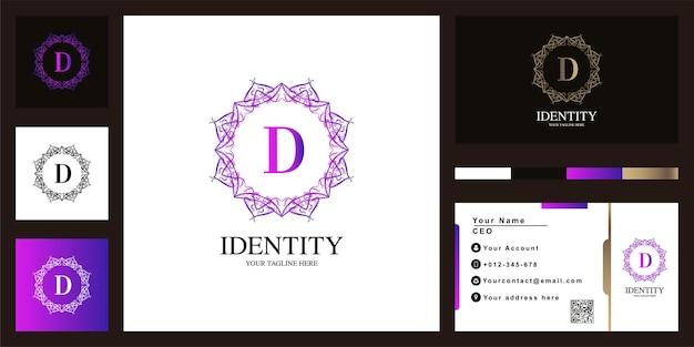 편지 d 럭셔리 장식 꽃 프레임 로고 템플릿 디자인 명함.