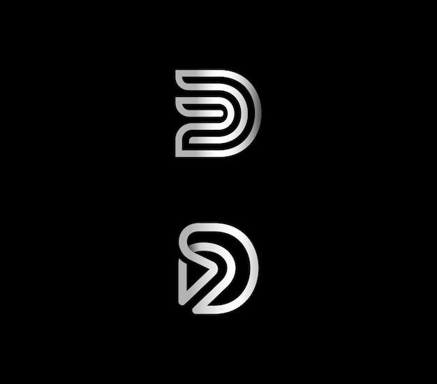 Letter d metallic initial logo design