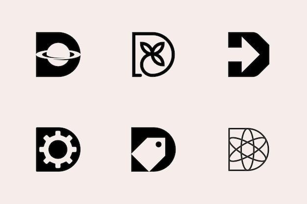 Letter d modern geometric logo template