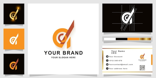Letter d or a monogram logo template with business card design