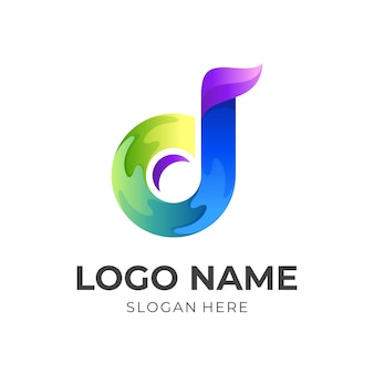 Letter d music logo, letter d and music note, combination logo with 3d colorful style