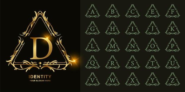 고급 장식 꽃 프레임 황금 로고 템플릿이 있는 문자 d 또는 컬렉션 초기 알파벳입니다.