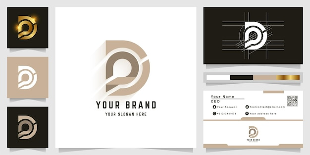 Letter d or pd monogram logo template with business card design