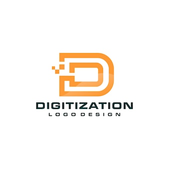 Letter d  pixel technology logo  template