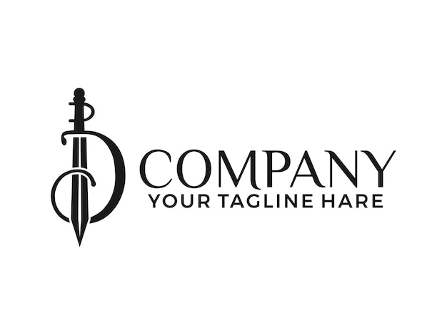 Буква d логотип меч