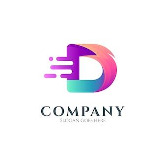 Letter d and thunder logo concept
