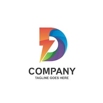 Letter d and thunder logo design