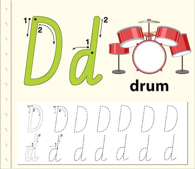 Letter d tracing alphabet worksheets
