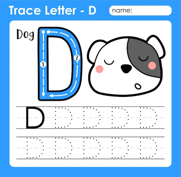 Premium Vector Letter D Uppercase - Alphabet Letters Tracing Worksheet  With Dog