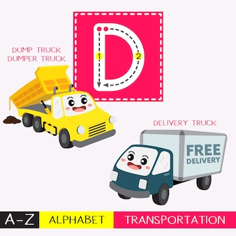 Letter d uppercase tracing transportations vocabulary