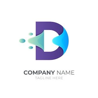 Буква d логотип концепция всплеск воды