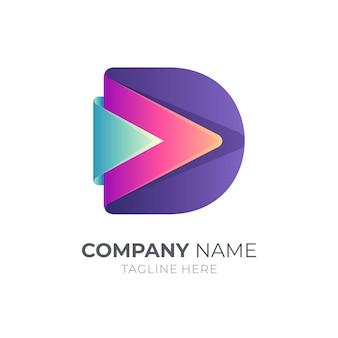 Буква d с шаблоном бизнес-логотипа стрелки
