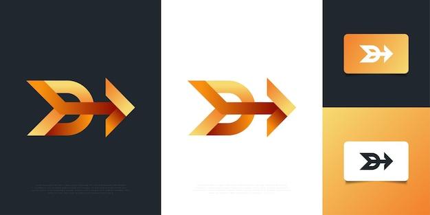 화살표 로고 디자인 서식 파일이 있는 편지 d. 귀하의 비즈니스 회사 및 기업 아이덴티티에 대한 d 기호