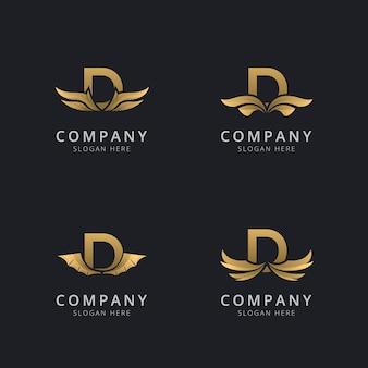 Буква d с роскошным абстрактным шаблоном логотипа крыла