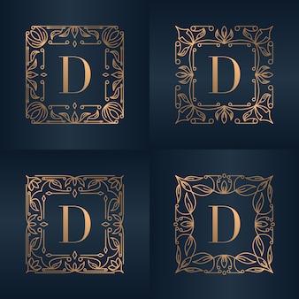 豪華な飾り花柄の文字d
