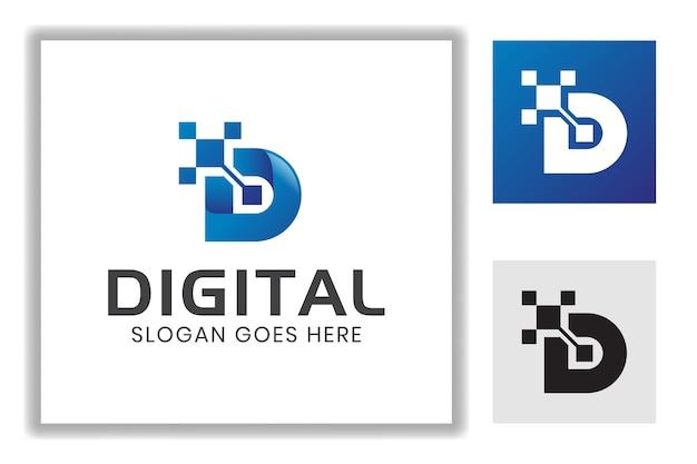 Буква d с технологическим символом системы чипа для брендинга, бизнес-шаблон логотипа интернет