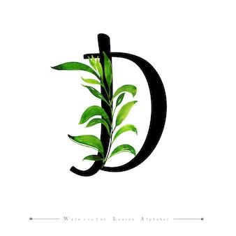 Буква d с акварельными листьями