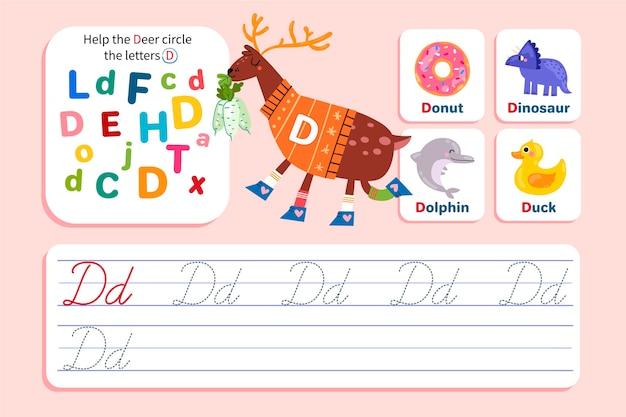 Letter d worksheet with deer
