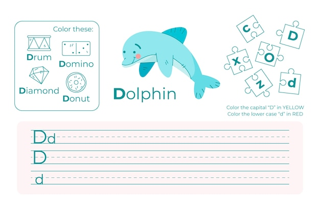 Letter d worksheet with dolphin