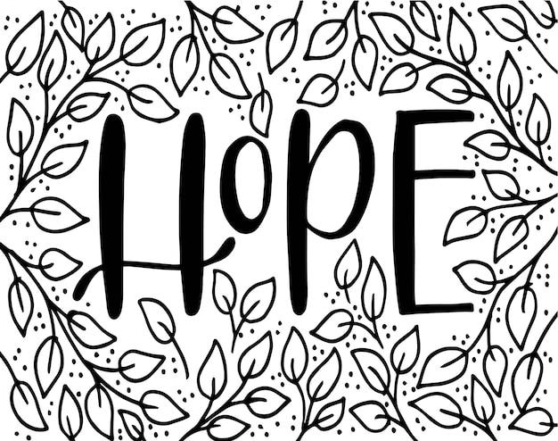 Letter design - hope with leaves, vector illustration