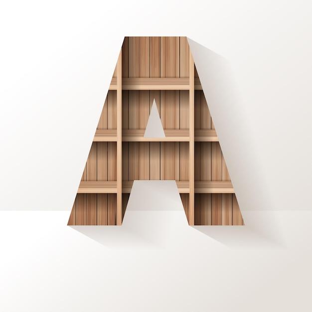 Letter a design of wood shelf
