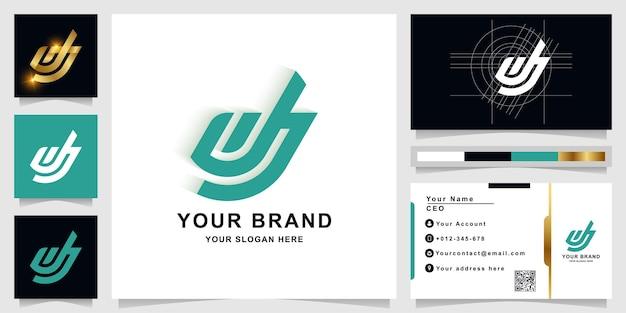 Letter dj or jj monogram logo template with business card design