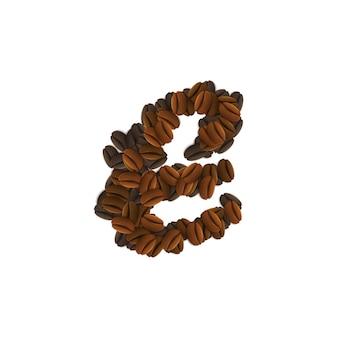 Lettera e di chicchi di caffè