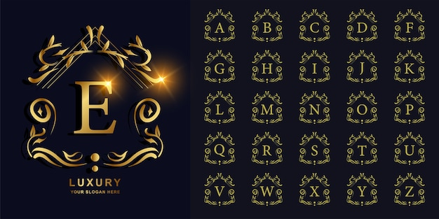 Letter e or collection initial alphabet with luxury ornament floral frame golden logo template.