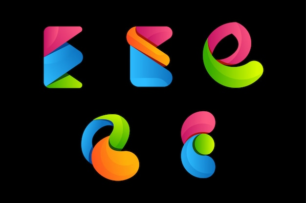 Letter e colorful vector logo