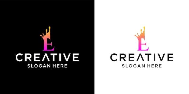 Letter e crown logo design