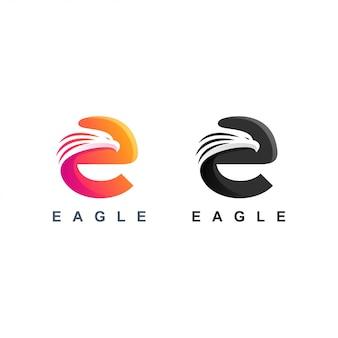 Letter e eagle logo