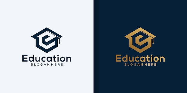 문자 e 교육 로고 디자인 요소. 로고 디자인 및 명함