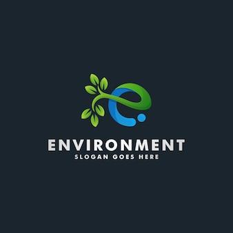 文字e環境ロゴデザインイラスト