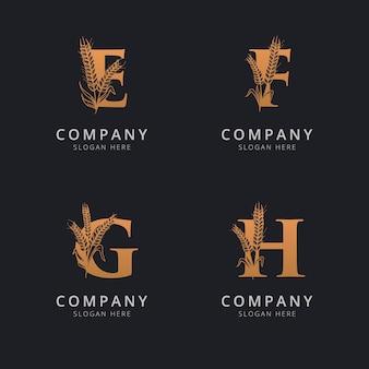 文字efgとhの抽象的な小麦のロゴのテンプレート