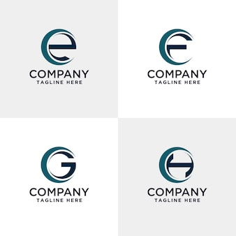 Letter e f g and h modern logo  inside the circle