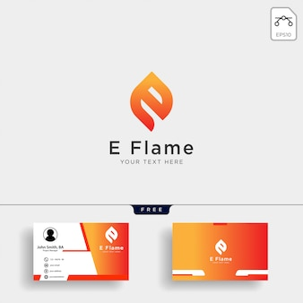 Letter e flame logo template with business card