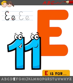 Letter e from alphabet with cartoon eleven number