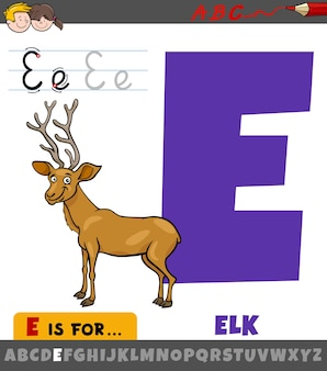 漫画のエルクの動物のキャラクターとアルファベットからの文字e
