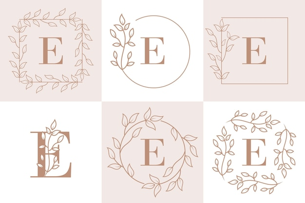 Letter e initial with floral frame template