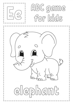 Letter e is for elephant. abc game for kids. alphabet coloring page.