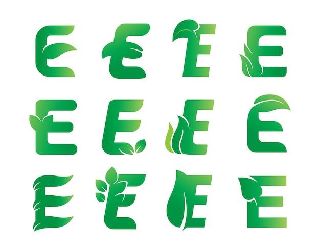 편지 e 잎 로고 디자인