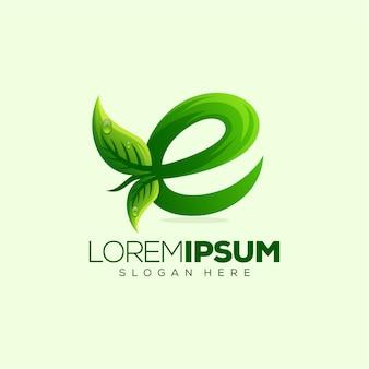 Letter e leaf logo design