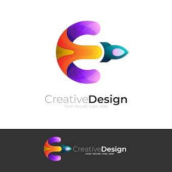 文字eのロゴとロケットのデザインの組み合わせ