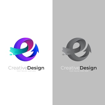 Letter e logo and arrow design vector, colorful style