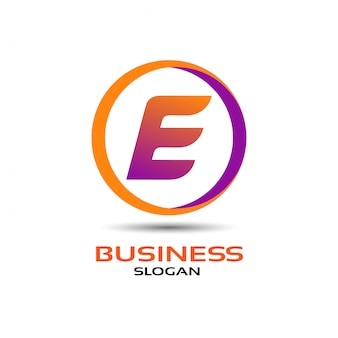 Letter e logo design with circle