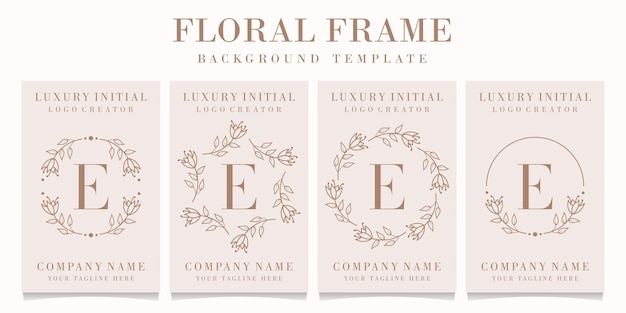 Letter e logo design with floral frame template