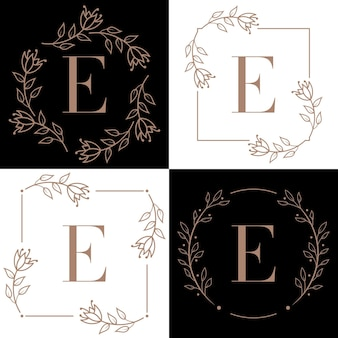 난초 잎 요소와 문자 e 로고 디자인