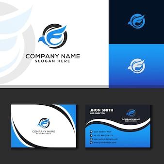 Letter e logo modern travel business card blue background
