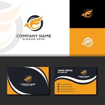 Letter e logo modern travel business card yellow background