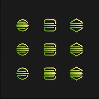 Letter e logo set in gradient colour